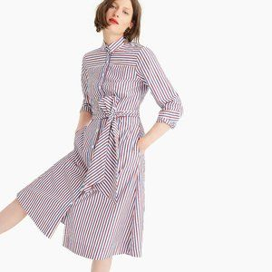 Tie-waist striped shirtdress dress 0 2 4 6 XS